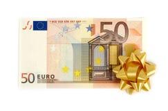 Vijftig euro nota's royalty-vrije stock afbeeldingen