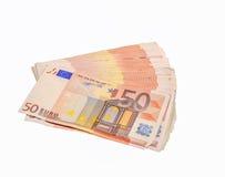 Vijftig euro rekeningen Royalty-vrije Stock Foto's