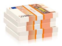 Vijftig euro stapels Royalty-vrije Stock Afbeelding