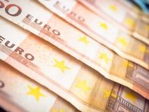 Vijftig gevoerde euro Royalty-vrije Stock Afbeeldingen