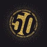 Vijftig jaar van de verjaardagsviering gouden logotype 50ste verjaardags gouden embleem vector illustratie