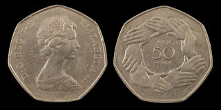 Vijftig pence Stock Foto