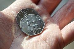 Vijftig pence muntstuk Stock Afbeelding