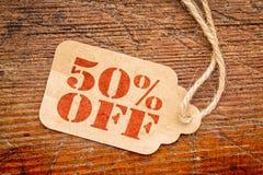 Vijftig percenten van prijskaartje stock foto