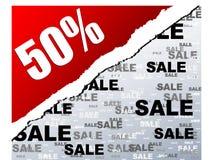 Vijftig percentenkorting stock illustratie