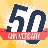 Vijftig van de verjaardagsjaar banner 50ste verjaardagsembleem Vector illustratie royalty-vrije illustratie