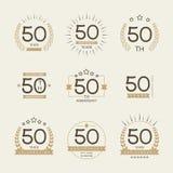 Vijftig van de verjaardagsjaar viering logotype de 50ste inzameling van het verjaardagsembleem vector illustratie