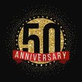 Vijftig van de verjaardagsjaar viering logotype 50ste verjaardagsembleem vector illustratie