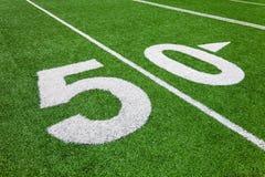 Vijftig werflijn - voetbalgebied Royalty-vrije Stock Fotografie
