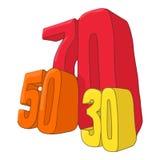 Vijftig zeventig dertig kortingenpictogram Stock Foto's