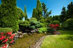 Vijver in gemodelleerde tuin Royalty-vrije Stock Foto's