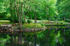 Vijver in het Botanische Park in Palanga, Litouwen Royalty-vrije Stock Afbeelding