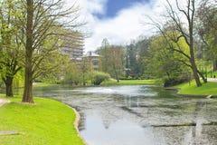 Vijver in het Park van de Lente in Brussel. Royalty-vrije Stock Foto