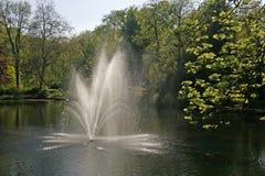 Vijver met fontein, Duitsland Royalty-vrije Stock Afbeeldingen