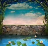 Vijver met tot bloei komende lelies stock illustratie
