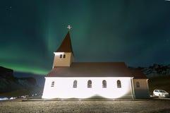 Vik Church Aurora Iceland arkivfoton