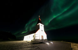 Vik Church Aurora Iceland Royalty Free Stock Images