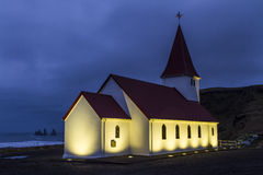 Vik church. Beautiful iceland church in Vik in the early morning Stock Photos