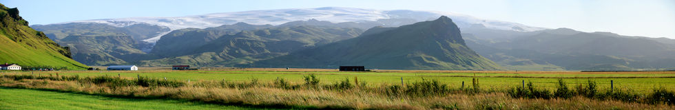 Vik from Cottage Velli overview. Panoramic photo of the glacier resort village of Vik Vellir Royalty Free Stock Photo
