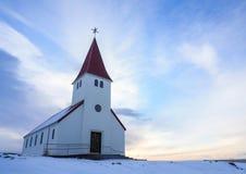 Vik i de Kerk van Myrdal ` s Een eenvoudige witte Kerk in Zuidelijke Icelan Royalty-vrije Stock Fotografie