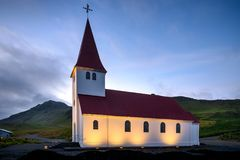 Vik i Myrdal Church in the evening, Europe, Iceland royalty free stock photos