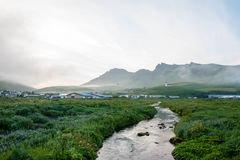 Vik i Myrdal village on the sunset, Iceland Royalty Free Stock Images