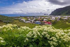 Vik in Iceland. Aerial view from hill above Vik i Myrdal village in south part of Iceland stock images
