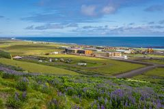 Vik in Iceland. Aerial view of Vik i Myrdal town simply called Vik in Iceland stock photography