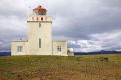 Iceland. Vik / Iceland - August 15, 2017: Dyrholaey promontory lighthouse, Vik, Iceland, Europe royalty free stock image