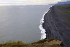 Iceland. Vik / Iceland - August 15, 2017: The volcanic beach view from Dyrholaey promontory, Vik, Iceland, Europe stock image