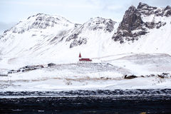 VIK/ICELAND - FEB 02 :View of the Church at Vik Iceland on Feb 0. 2, 2016 Royalty Free Stock Image