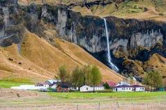 VIK ISLAND - OKTOBER 16, 2014: Landskap i Island med vattenfallet, sheeps och den lokala lantgården med byggnader Berg i backgrou Royaltyfria Bilder