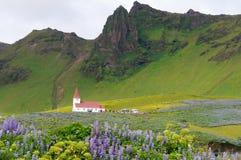 Vik ja Myrdal kościół w Vik wiosce Iceland Obraz Royalty Free