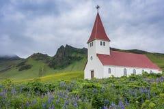 Vik Village Church Island arkivbilder