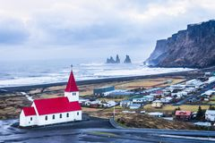 Vik village from the top. Vik village with Reynisdrangar in the background during winter royalty free stock photography