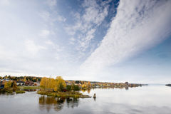 Vikersund, Norway. The small town of Vikersund in Norway on Tyrifjord stock photo