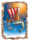 Viking's destiny. Sinking Thor's hammer (viking amulet) with torn rope, salmon and drakkar (vikings longship) in the ocean, vector illustration Stock Images