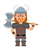 viking Человек в костюме с осью Викинга в руке характер Викинга на белой предпосылке в плоском стиле Стоковые Фотографии RF