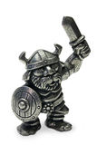 Viking. Miniature pewter Viking isolated on white royalty free stock photos