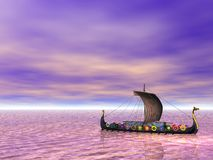 Viking. Ship sailing on the sea Stock Images