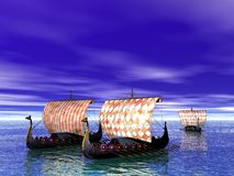 Viking. Ships sailing on the sea Royalty Free Stock Photos