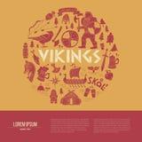 Viking-achtergrond met tekstgebied Handdrawn brochuremalplaatje Royalty-vrije Stock Afbeelding