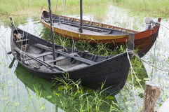 Viking age boats reconstruction. Reconstruction of Viking era boats at the Birka museum on the island Bjorko (Swedish: Björkö) in Lake Malaren (Swedish: Mä Stock Photo