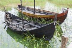 Viking age boats reconstruction Stock Photo