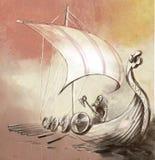 Viking Age Nave y guerrero de Drekar con el hacha que se coloca en boa Fotos de archivo libres de regalías