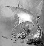 Viking Age Navio e guerreiro de Drekar com o machado que está na boa Fotografia de Stock Royalty Free