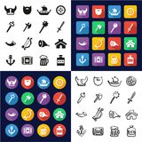 Viking All in One Icons Black & White Color Flat Design Freehand Set. This image is a vector illustration and can be scaled to any size without loss of Royalty Free Stock Image
