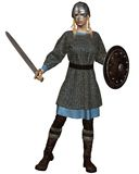 Viking or Anglo-Saxon Shield Maiden. With chain mail armour, sword, shield and helmet, 3d digitally rendered illustration Stock Images
