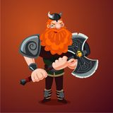 Viking with axe. Angry red bearded antique warrior. Cartoon character. Game design. Viking. Angry red bearded antique warrior. Cartoon character Royalty Free Stock Photos