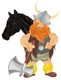 Viking and animal. Happy viking with ax and black horse Royalty Free Stock Photo